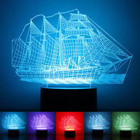 Oobest 3D Sailing Boat Vessel Night Light Acrylic Colorful Gradient Atmosphere Lamp For Childrens Bedroom Home