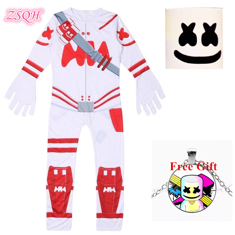 ZSQH DJ Marshmallow Jumpsuit Cosplay DJ Marshmellow New Children Bodysuit Cute Marshmellow Cosplay Costume For Kids Girl Boys