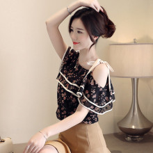 2XL Womens Blouses And Tops Korean Chiffon Print Shirts Ladies One Shoulder For Women Summer Clothing