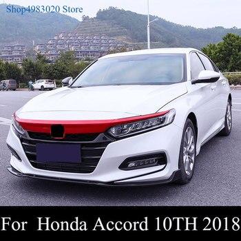 Para Honda Accord 2018 + cubierta delantera del coche tapa del parachoques capó cubierta de rejilla embellecedor negro brillante/Rojo/fibra de carbono cubierta frontal embellecedor