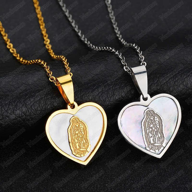 Nextvance urok maryi panny powłoki miłość wisiorek w kształcie serca naszyjnik ze stali nierdzewnej Christian para Amulet biżuteria dla kobiet prezent dla mężczyzny