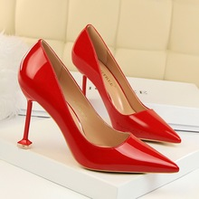 New Concise Women Patent Leather 9.5CM Thin High Heels Pumps Spring/Autumn Ladies Shallow Pointed Toe Slip-On Office Party Shoes spring autumn women pumps women s shoes genuine leather high heel thin heels pointed toe fashion party slip on shallow solid