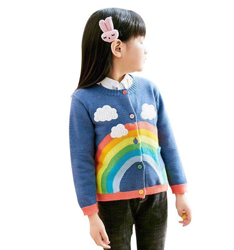 72ad182ab New 2018 Autumn Fall Baby Boys Girls Rainbow Clouds Sweater Kids Clothing  Knitting Cardigan Long Sleeve