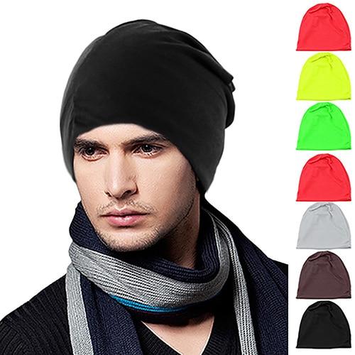 Men Women Beanie Cap Solid Color Hip-Hop Winter Warm Baggy Beanie Unisex Hat