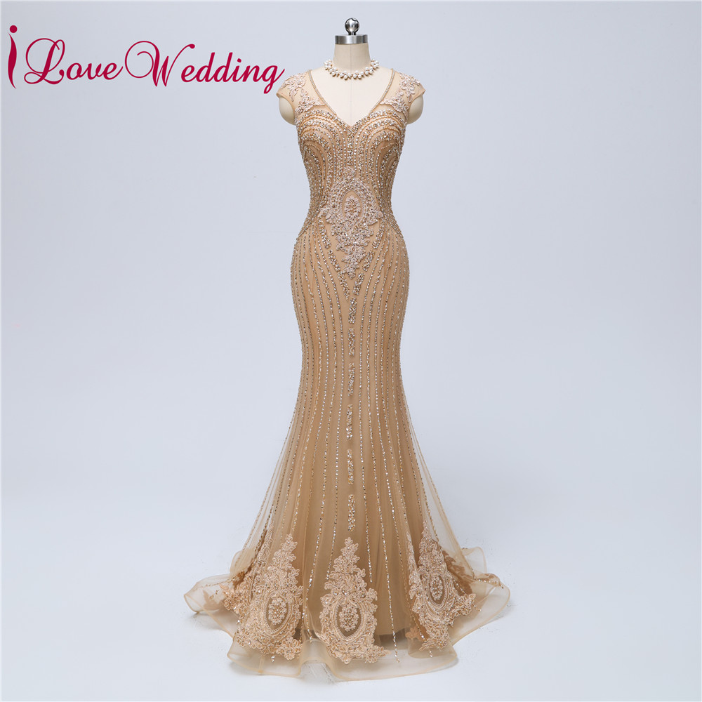 2020 Evening Dresses Long Gold Lace Gown Mermaid Robe De Soiree Formal Gown See Through Back Beaded Luxury Evening Party Dresses