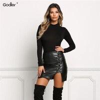 Godier New Pencil Skirt Women Black Bodycon Bandage Skirts Zipper Lace Up Split Side Slit Party Club Wear Pu Leather Skirt Women