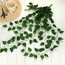 plantas artificiales para decoracion Artificial Fake Hanging Vine Plant Leaves Garland Home Garden Wall Decoration Drop Shipping