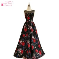 Black Red Print Prom Dresses 2018 Jewel A Line Fairy Long Evening Formal Gowns Real Photo Alibaba China In Stock DQG265