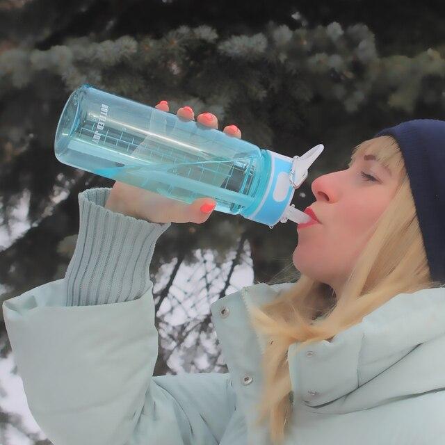 Gebotteld vreugde 0.7L water fles met stro drinken Tritan bpa gratis leuke water filter flessen kids Handvat mijn gym Plastic fles