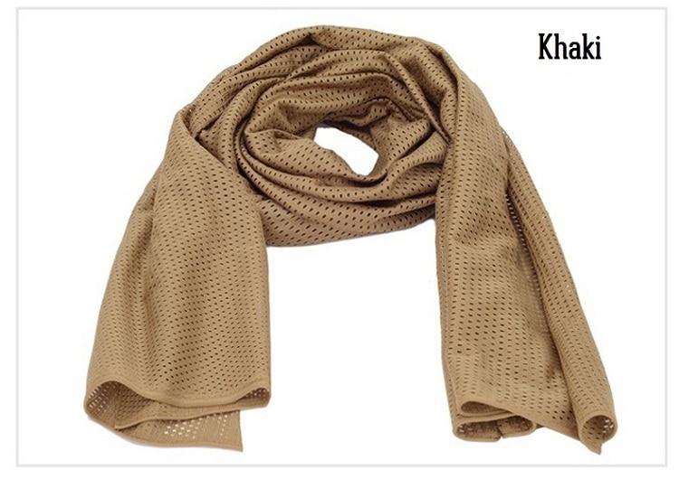 Универсальный арабский армейский Тактический Камуфляжный шарф для мужчин военный джунгли бой ветрозащитная сетка шаль вуаль унисекс Камуфляж шарфы для пейнтбола - Цвет: Khaki