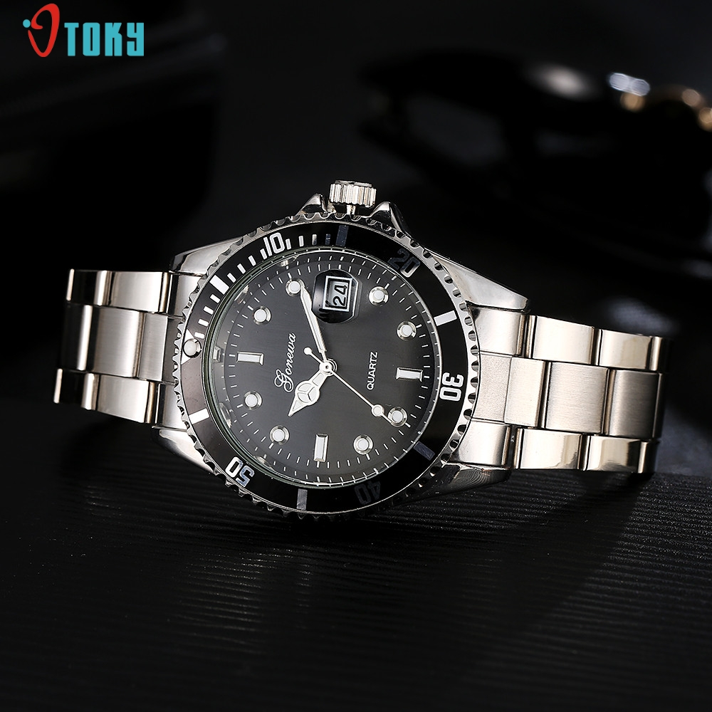 GONEWA Men Fashion Military Stainless Steel Date Sport Quartz Analog Wrist Watch May14 men s military style fabric band analog quartz wrist watch black 1 x 377