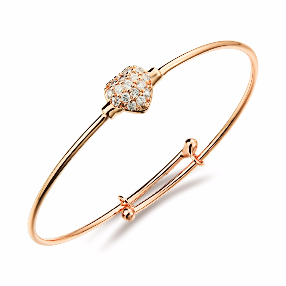 Rose Gold Color Charm Bangles Bracelets for Girls 2016 New Fashion ...