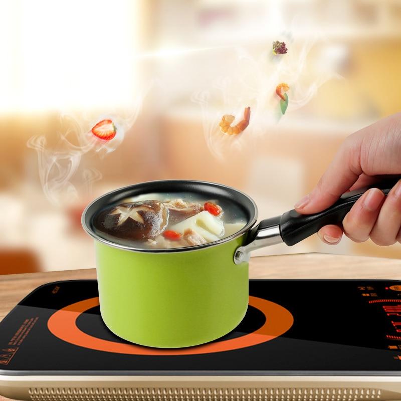 11CM Portable Aluminum Alloy Mini Milk Heating Pan Two Color Non-stick Pot Home Kitchen Tools Kitchen Cooking Tools