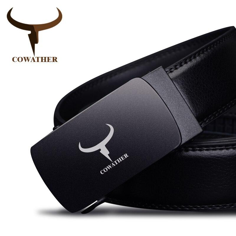 COWATHER Good   belts   for men 100% cow genuine leather mens   belt   male automatic alloy buckle strap cinturones hombre original