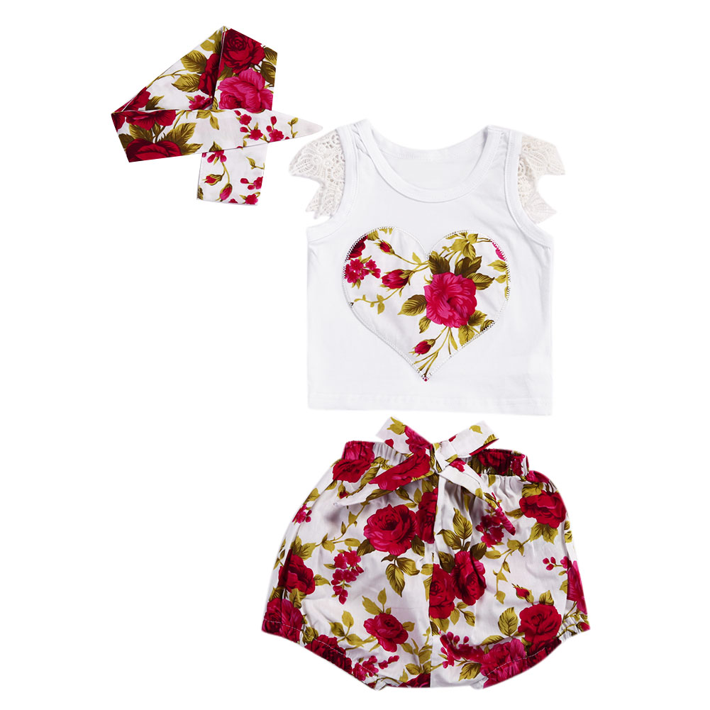 Kids Summer Floral Clothing Set Baby Girls Heart Shape Flower Printed T Shirt Short Pant Headband