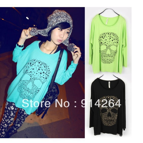 NEW Womens Casual Loose Oversize Long Sleeve Skull Print Round Neck Top T-Shirt    free shipping