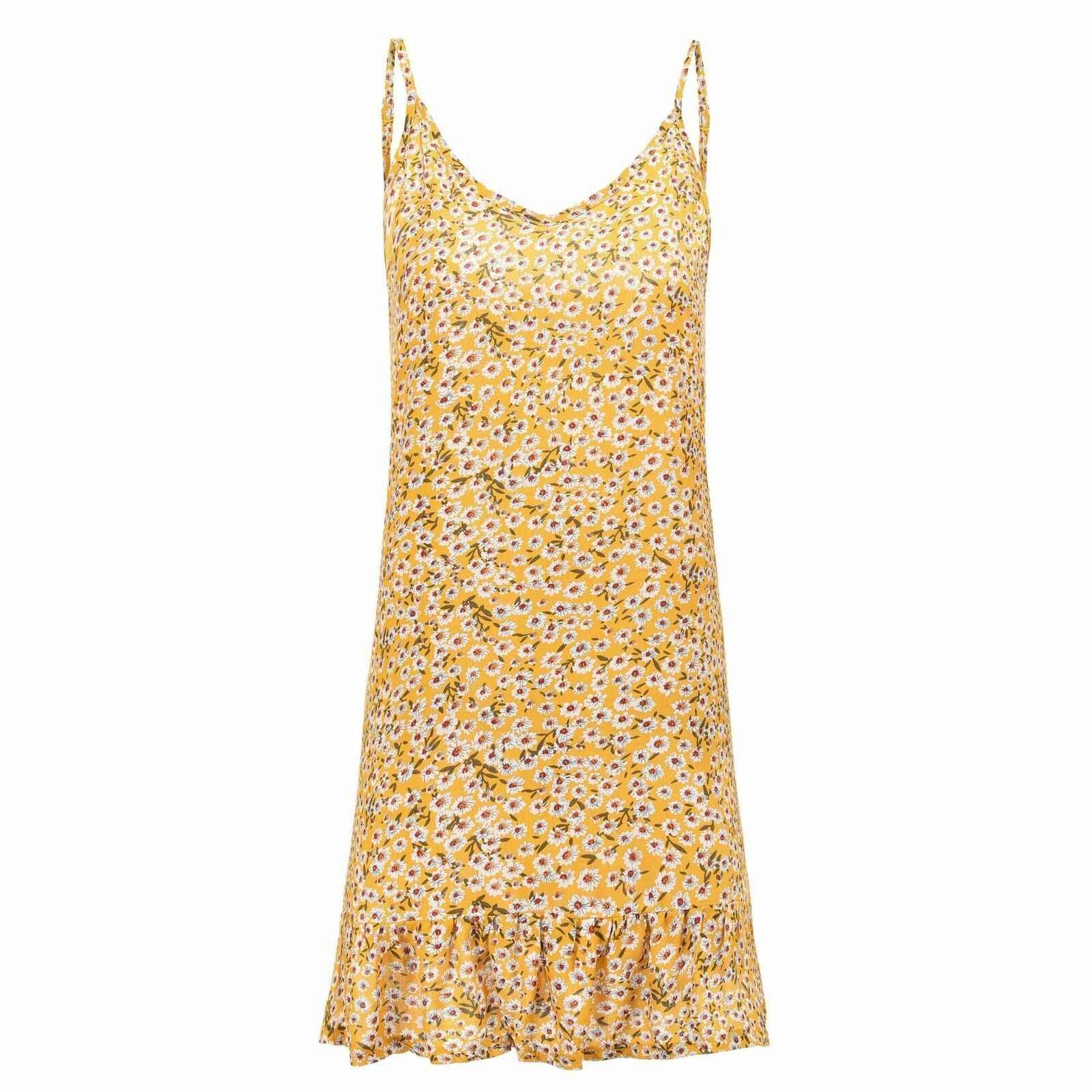 Женское богемное платье без рукавов с цветочным принтом; летнее пляжное свободное повседневное милое платье-туника; большие размеры