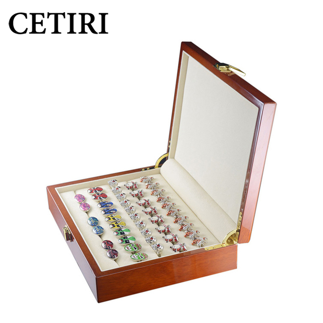 CETIRI Luxury 20 pairs Jewelry Cufflinks Rings Gift Box Cuff Link Boxes For Men High Quality Painted Wooden Box Case Storage