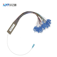 Shipping by EMS to Russia about 10 20 days 1*64 steel tube 0.9mm 1m with SC/UPC connector fiber optic PLC Splitter