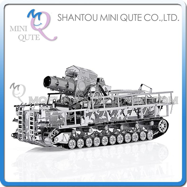 Mini Qute 3D Metal Puzzle Silver Railway Gun tank Truck military Adult kids model educational toys gift NO.P035-S  -  WTOYW s & retails toy store store
