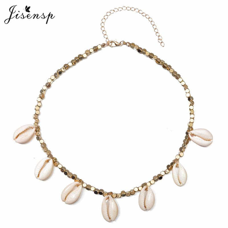 Jisensp 2019 Ethnic Vintage Shells Charm Necklace for Women Handmade Adjustable Beaded Chokers Necklace Holiday Gift bijoux