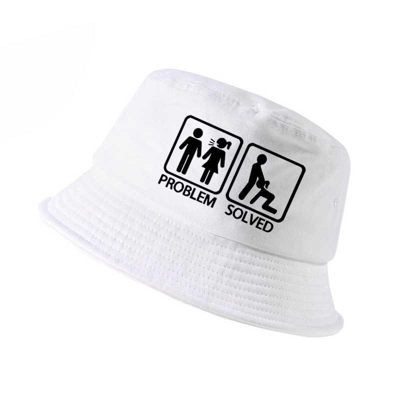675fab37a97 PROBLEM SOLVED letter Print bucket hat k pop men women fisherman hats  summer outdoor hunting fishing