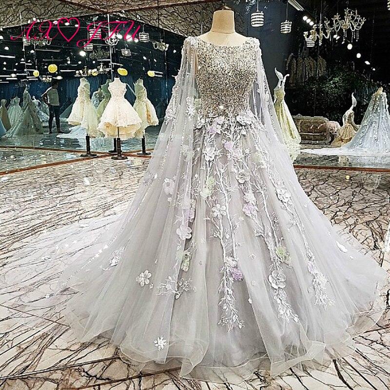 AXJFU принцесса Серый кружево цветок свадебное платье бисер Золотой Роскошные блестящие свадебное платье из тюля xj00126
