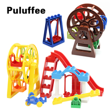 Runner Ferris wheel Model Amusement Park Set Bricks Big Particles Building Blocks accessory Kids Toys Compatible with Duplo DIY qwz 86pcs girl s pink dream princess castle model large particles building blocks bricks kids diy toy compatible with duplo