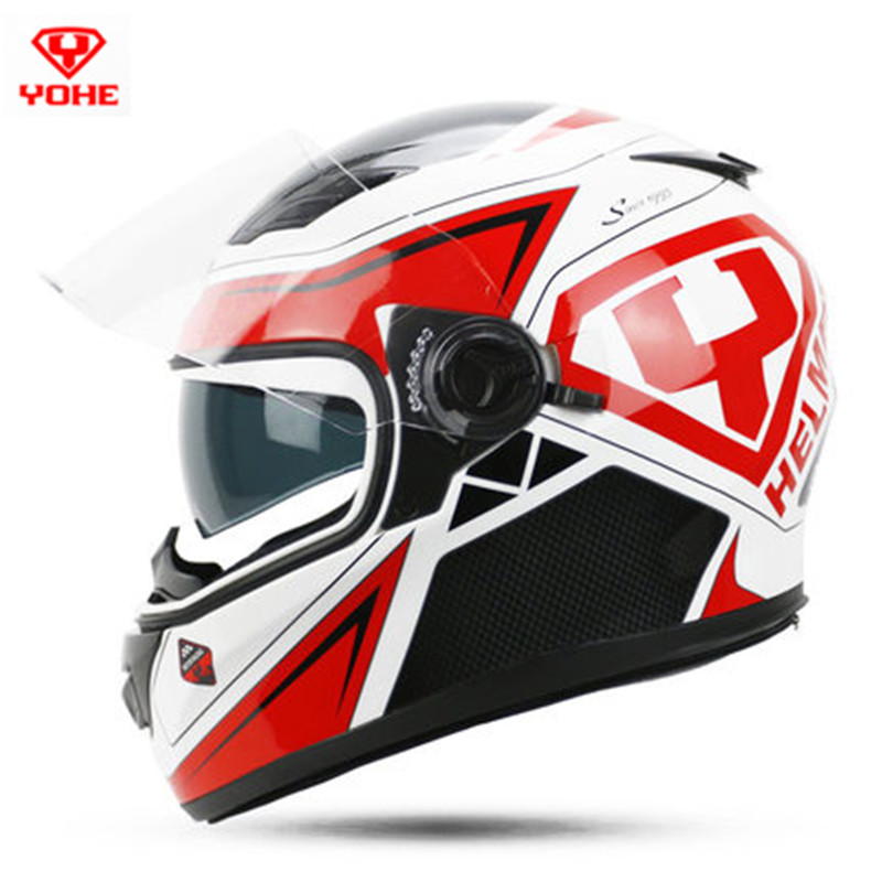 Casco capacete motoqueiro casuqe moto YOHE 970 dual lens full face motorcycle helmet man woman electric scooter full helmets 2017 new ece certification ls2 motocross motorcycle helmet ff352 full face motorbike helmets made of abs and pc silver decadent