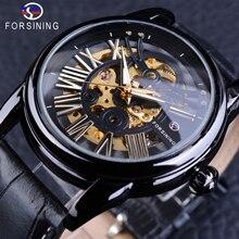 Forsining negro bisel hombres retro reloj automático luminoso manos de lujo esquelético del reloj de oro movimiento del engranaje