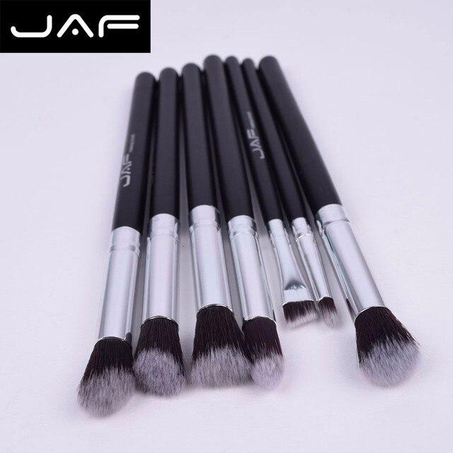 Las Fuerzas Armadas Jordanas pincel de maquillaje profesional 7 piezas cara negra sombra de ojos delineador de ojos Fundación labio maquillaje cepillos herramienta de aluminio fuerte de Feb18