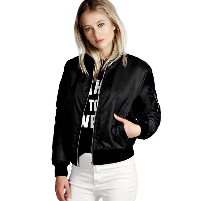 Frühling Dünne Jacken Frauen 2019 Grundlegende Solide Stehkragen Bomber Jacke Frauen Herbst Beiläufige Lange Hülse Dünnen Mantel Weibliche Oberbekleidung