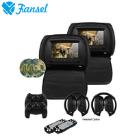 Fansel 2PCS 7 Inch Car Headrest Monitor DVD Player TFT LCD Screen With Zipper Cover Support