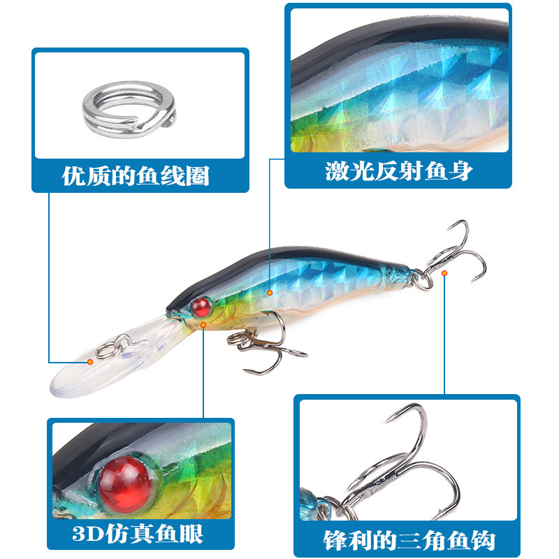 1Piece 7g 95mm Lifelike Artificial 3D Eyes Fishing Hard Baits Lure Tongue Fishing Bait Lures Wobbler With Hook For River Sea in Fishing Lures from Sports Entertainment