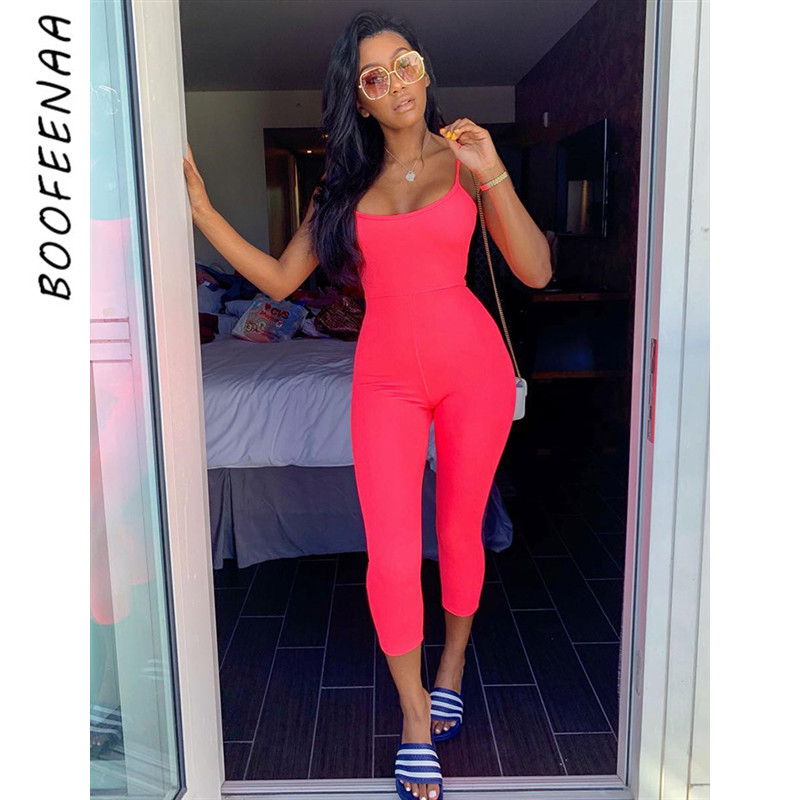 BOOFEENAA Neon Yellow Pink Sexy Bodycon   Jumpsuit   Women Clothes 2019 Summer One Piece Romper Streetwear Overalls C54-AB33