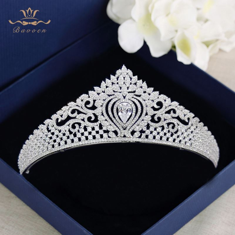 Bavoen High Quality Brides Clear Zircon Crown Tiara Crystal Silver Hairbands Wedding Hair Accessories