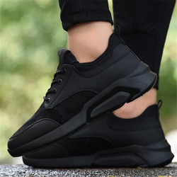 2019 2018 DIWEINI Brand High quality all Black Men's leather casual shoes Fashion Breathable Sneakers fashion flats Size 39-44