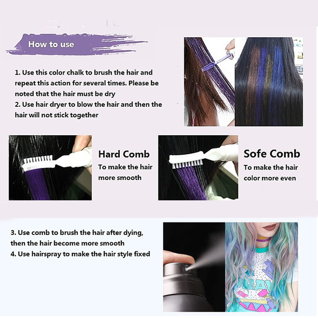 13 Colors One-off Hair Color Dye Temporary Non-toxic DIY Hair Color Mascara Washable One-time Hair Dye Crayons 5