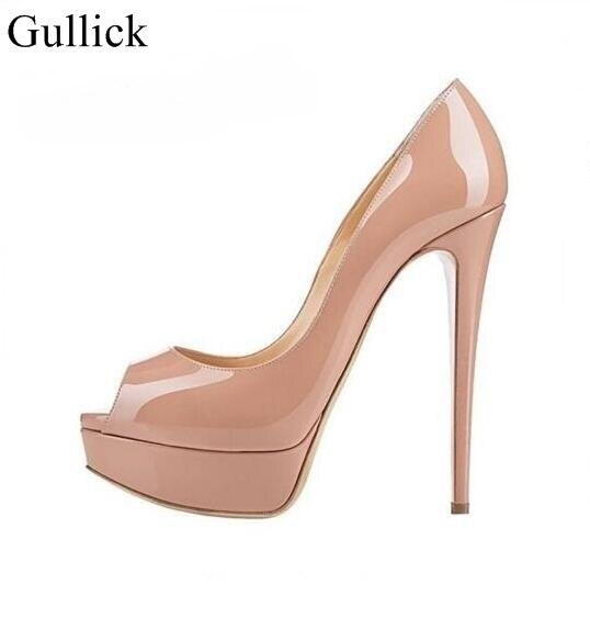 676b66435 Women High Heels Peep Toe Pumps Sexy Wedding Shoes 160MM Nude Black Patent  Leather Platform Pumps Big Size 13 Real Photo