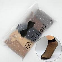 25 Pair/set Skin Color Dot Transparent Thin Women Crystal Silk Socks Nylon Fashion Ladies Summer Short Silk Socks with Gift Bag