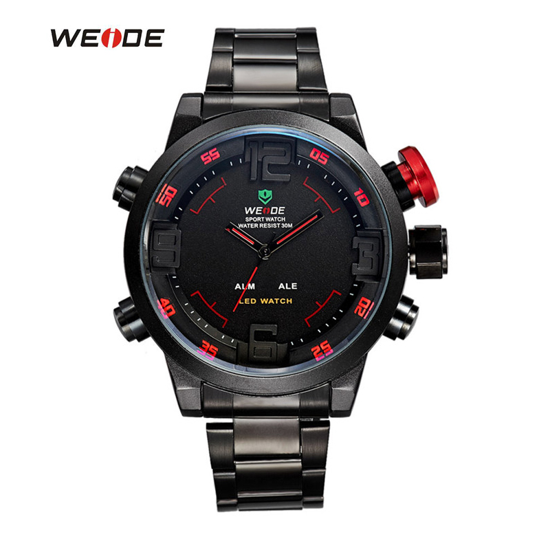 WEIDE Brand Men s Military Watches Multifunction Waterproof LED Casual Watch Stainless Steel Alarm Sports Men