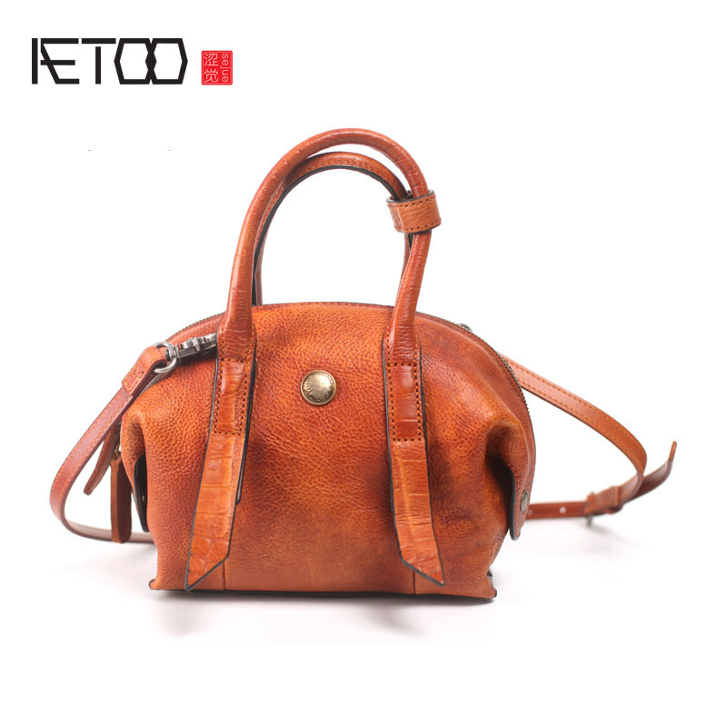 AETOO Original Retro Shellfish Handmade Leather Personalized Arts Handbag Shoulder Skirt