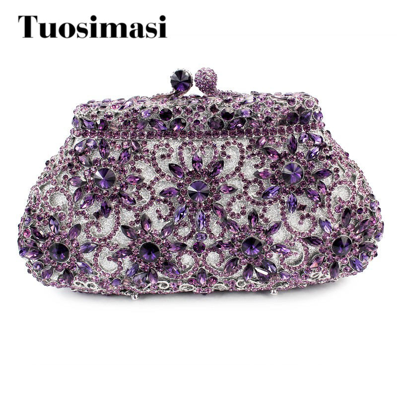 Delicate Handmade ladies hand Crystal Stone Evening Clutch Bag wedding  purse 6 colors (8626A)