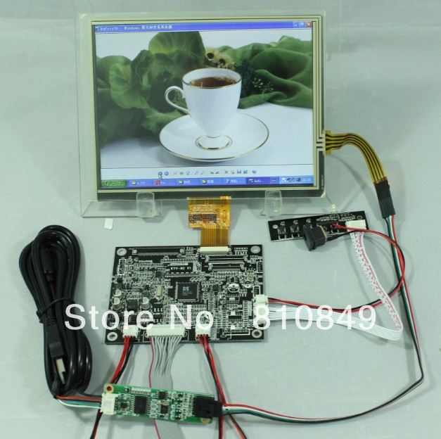VGA CVBS Reversing LCD Controller Board+8inch HJ080IA-01E 1024x768 IPS LCD Screen With Touch Panel new 8 inch ips hd flat panel lcd screen hj080ia 01e m1 a1 32001395 00