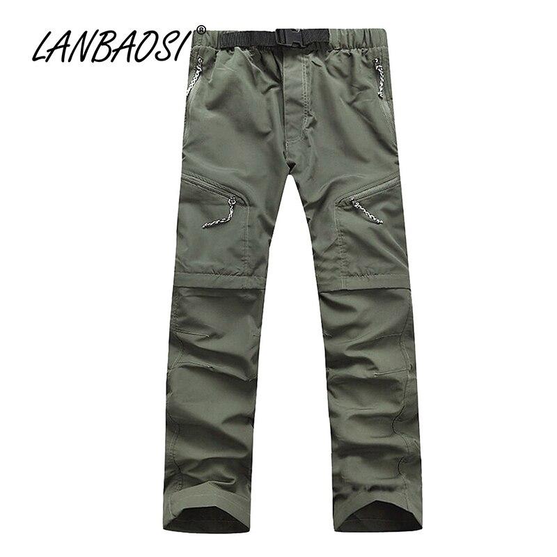 LANBAOSI pavasara vasaras vīriešu ātrās sausās bikses Labas kvalitātes ikdienas kabrioleta kravas bikses viegls elastīgs vidukļa armijas zaļš