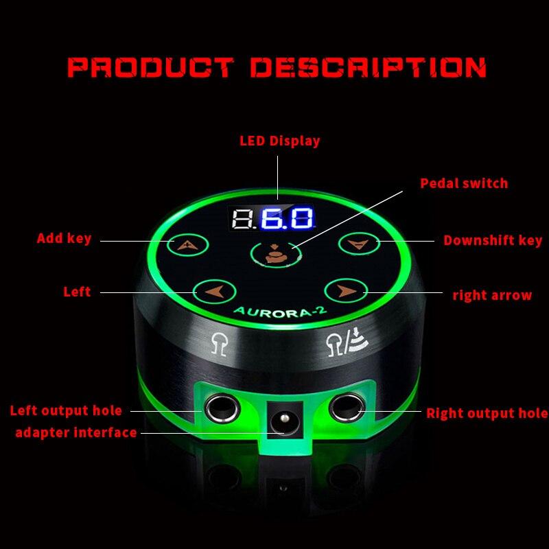 EZ Novo AURORA II LCD Poder Tatuagem de Alimentação para Máquina de Tatuagem Rotativo 2 Pedal Modo Preto Prata 1 pçs/lote