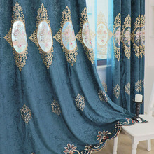 Luxury Curtains Flower Blackout Living-Room Kitchen Blue Mirror Coffee Slow Soul Bedroom