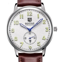 Brand BENYAR Stainless Steel Case Genuine Leather Strap Date Hour Waterproof Luxury Men Quartz Watch Clock