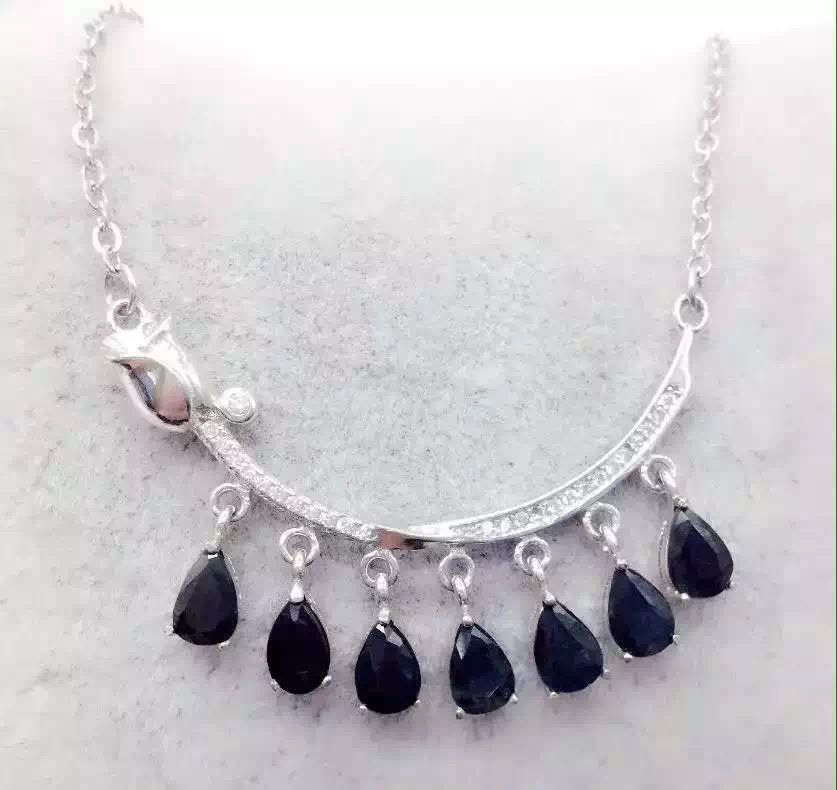 KJJEAXCMY boutique jewels 925 Pure silver inlay natural shandong sapphire clavicular chain female style pendant + necklace 2pcs 150mm big optical pmma plastic round solar condensing compound eye fresnel lens improving brightness of light focal length