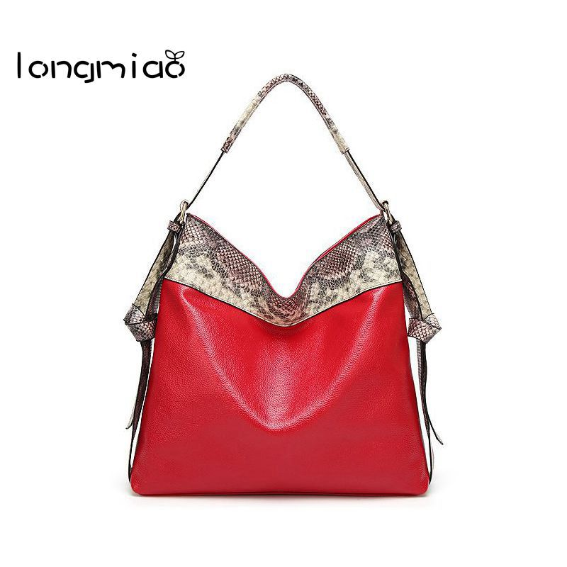 longmiao Fashion Serpentine PU Leather Shopping Bag Female Snake Print Shoulder Bags Luxury Designer Adjustable Strap Handbag
